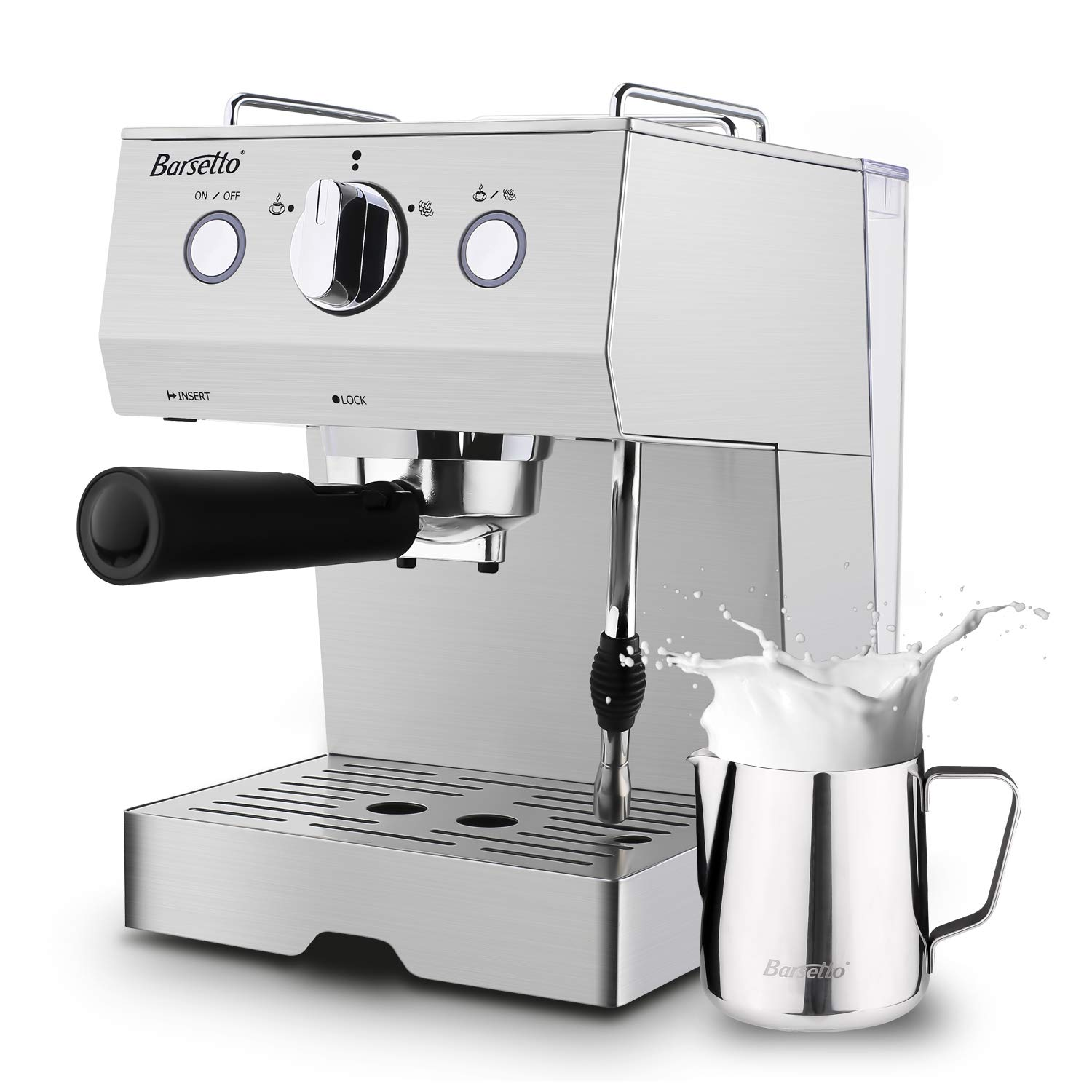 Barsetto Espresso Machine With Milk Frother,Espresso Maker, Coffee Maker with milk steamer,1050W,15 Bar Pump,Stainless Steel by Barsetto