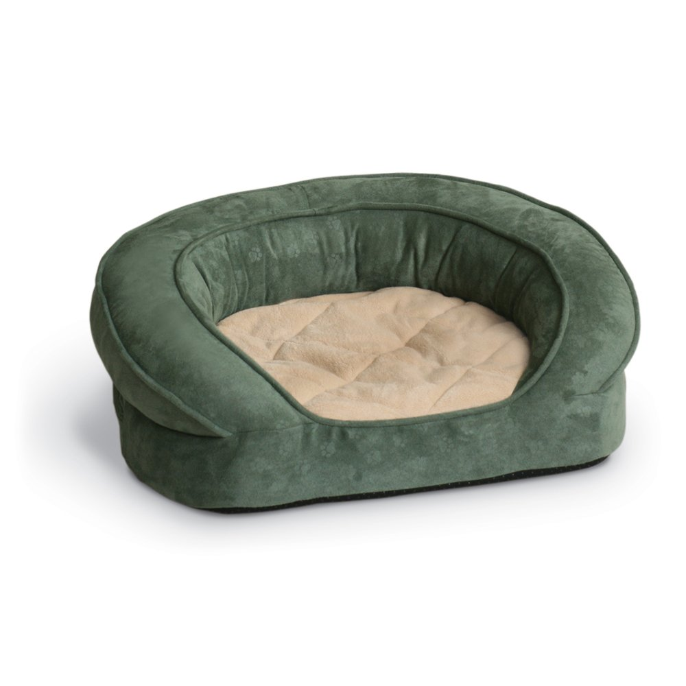 K&H Pet Products Deluxe Ortho Bolster Sleeper Pet Bed X-Large Green Paw Print 50''