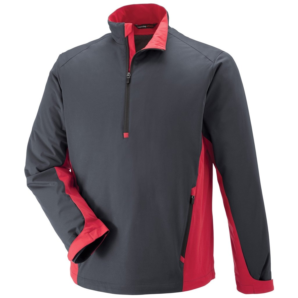 Ash City Mens Paragon Laminated Stretch Windshirt (Small, Black Silk/Olympic Red)