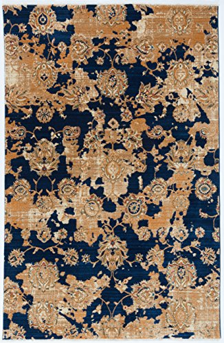 Antep Rugs ORIENTAL WAVE Collection KAYI Floral Area Rug NAVY/IVORY 5' X 8'(60
