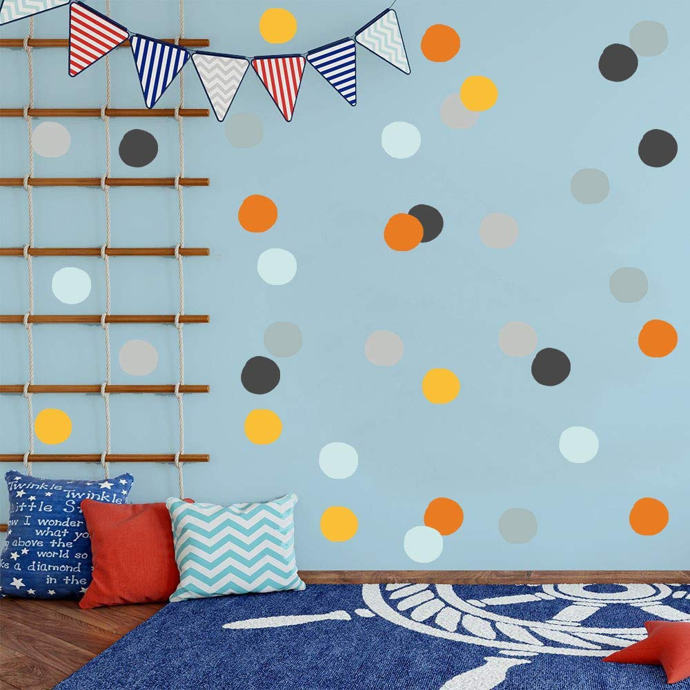 2 Modern Rainbow Nursery Prints Personalised Polka Dot Wall Art Picture Decor