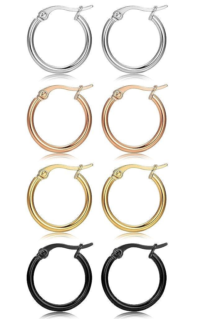 FIBO STEEL 4 Pairs 4 Colors Stainless Steel Small Hoop Earrings for Women Girls Huggie Earrings 10MM-25MM 1WHE093-10MM
