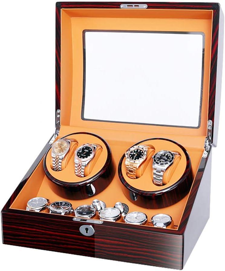 ワインディングマシーン 自動巻取機ボックス自動巻取機木製ボックスピアノペイントスーパー静かな、自動腕時計用、4 + 6時計収納 (Color : C)