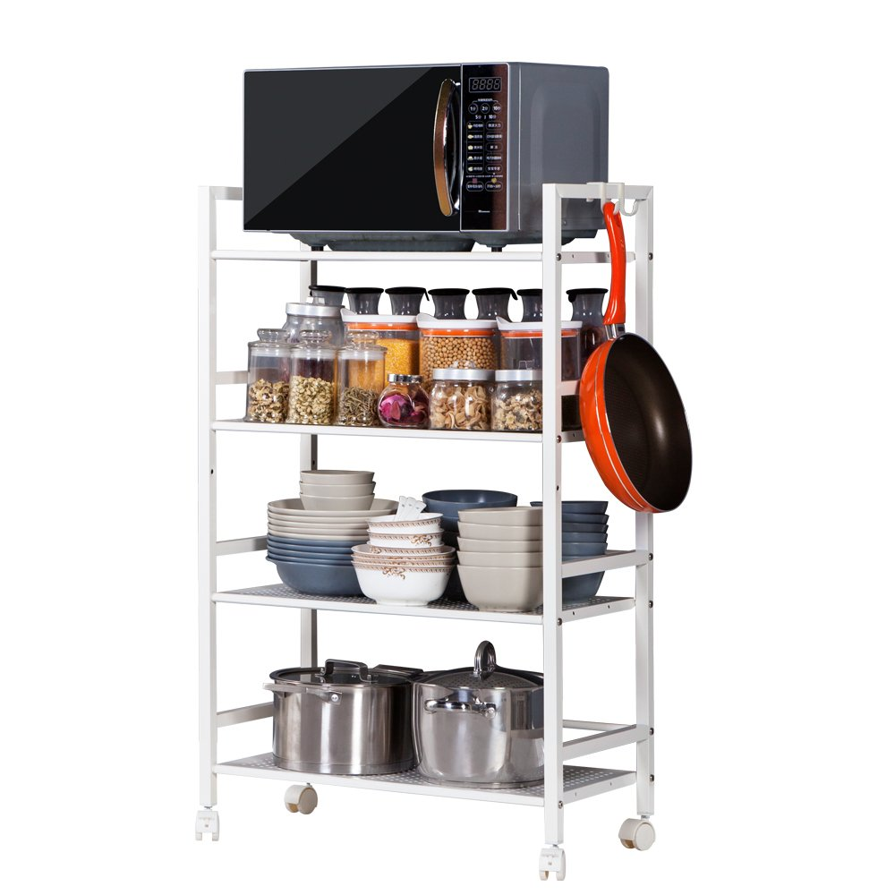 Teeker 4-Tier Microwave Oven Holder,Multi-Functional Kitchen Utility Storage Rolling Cart,4-Shelf Storage Rack for Kitchen,Storage Rolling Cart w Hooks Wheels