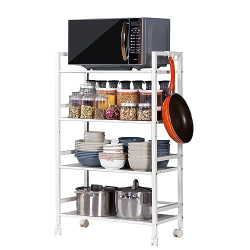 Teeker 4-Tier Microwave Oven Holder,Multi-Functional Kitchen Utility Storage Rolling Cart,4-Shelf Storage Rack