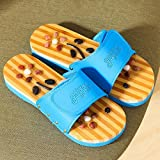 FJY Foot Massage Slippers Shoe Foot Care Reflexology Sandals With Natural Acupuncture Stones Mules Promote Blood Circulation and Improve Metabolism CM005,Professional Edition, blue, 38/39/40 EU