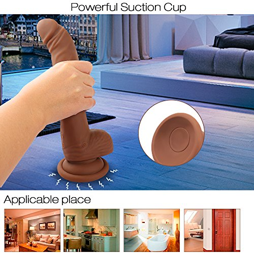 Oneisall Rechargeable 360° Rotating Silicone Dildo 10 Speed Waterproof Vibrator-One Key Burst for Highest Vibration, USB Charging Penis Dong with Strong Suction Cup for Female,9'' Brown