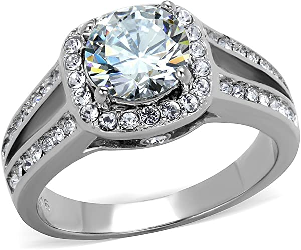 WOMEN/'S STAINLESS STEEL 2 CARAT ROUND CUBIC ZIRCONIA ENGAGEMENT RING SIZE 8 9