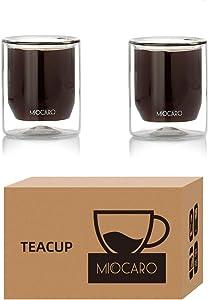 MIOCARO Double Wall Glass Espresso Cup Coffee Mug Tea Cup Glass Shot Insulated - 3.5 oz, Set of 2