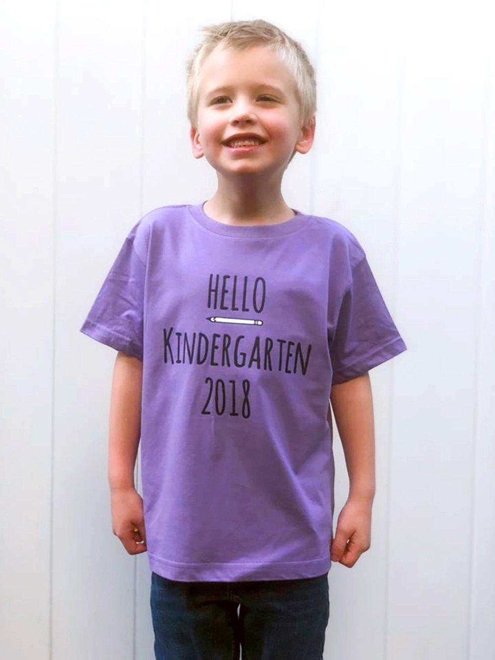 Hello Kindergarten 2018, First Day of School Tshirt for Kids, Short Sleeve, Purple, Size 5/6