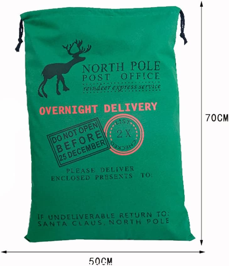 Personalized Green Santa Canvas Sack with Reindeer North Pole Santa Claus Presents Bag
