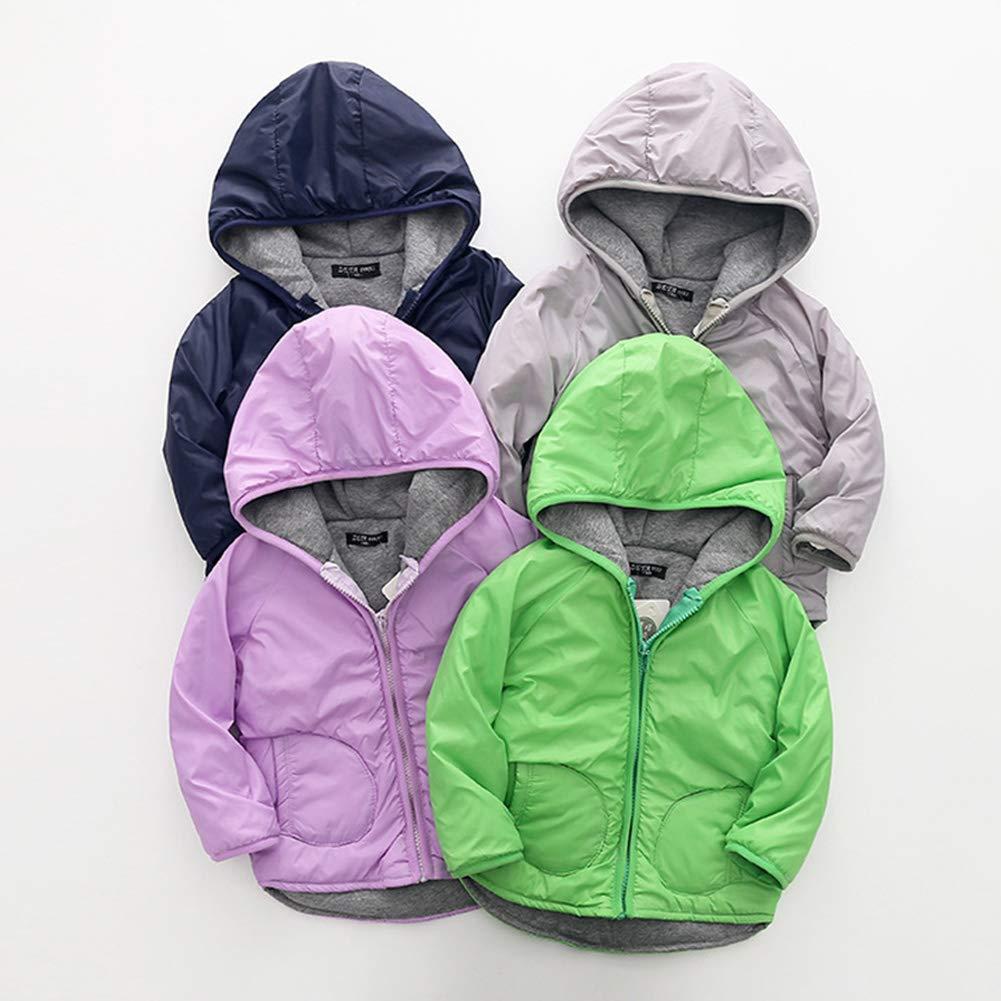 ZETA DIKES Kids Windbreaker Jacket Hooded Down Rain Coat Waterproof Outerwear 3-8Y