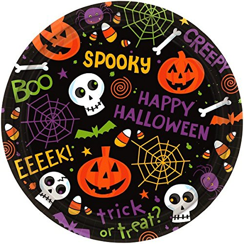 Spooktacular Halloween Gang Disposable Round Luncheon Paper Plates, 9