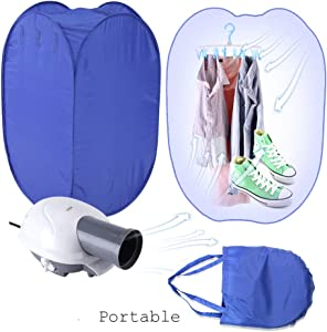 Yosooo Portable Clothes Dryer, 800W New Portable Electric Clothes Drying Machine Fast Dryer Folder Dryer Bag Home US Plug
