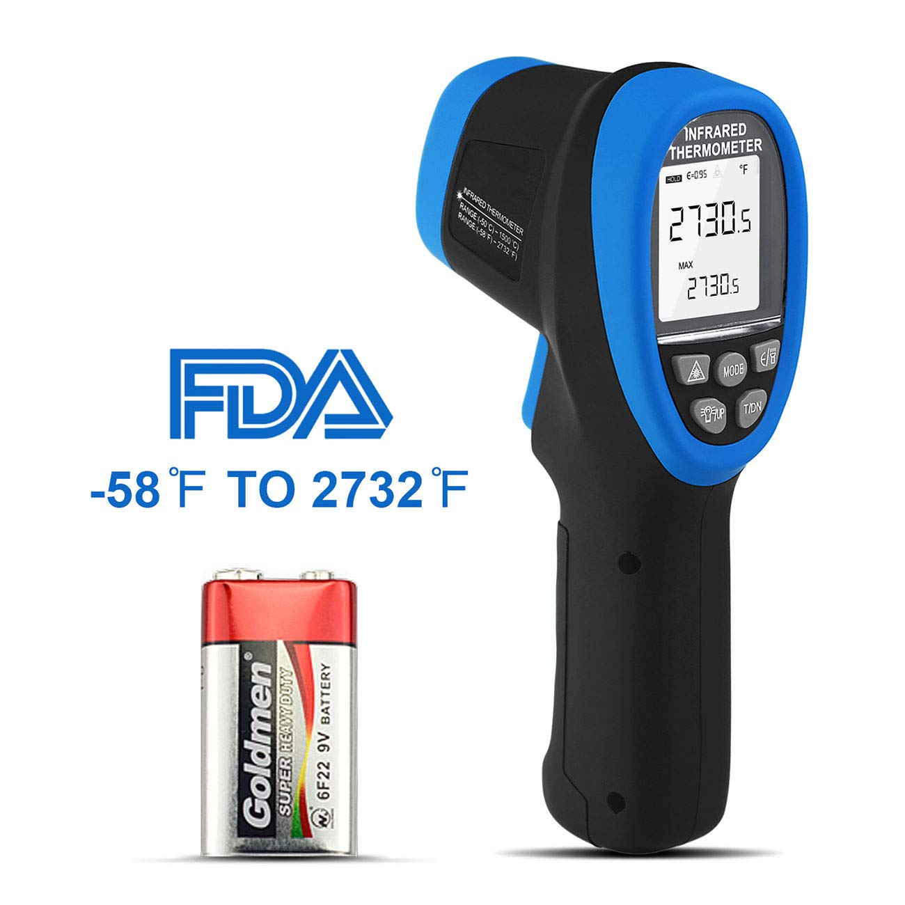 Infrared Thermometer, BT-1500 Non-Contact Digital Double Laser Pointers High Temp Pyrometer, 30:1 IR Temperature Gun -58℉ - 2732℉ (-50℃ to 1500℃) with Flashlight FDA for Kiln Forge Foundry Casting