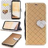 S8+ Case, Galaxy S8 Plus Case, Galaxy S8 Plus Wallet Case, Easytop Love Heart Design Faux Leather Flip Credit Card Holder Wristlet Shockproof Protective Wallet Case for Samsung Galaxy S8 Plus (Gold)