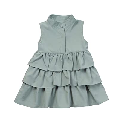 f533fbe362 Amazon.com  Summer Baby Girls Dress Fashion Loose Solid Color Ruffles 1-6T  Kids Children Sleeveless Holiday Layeres Dresses