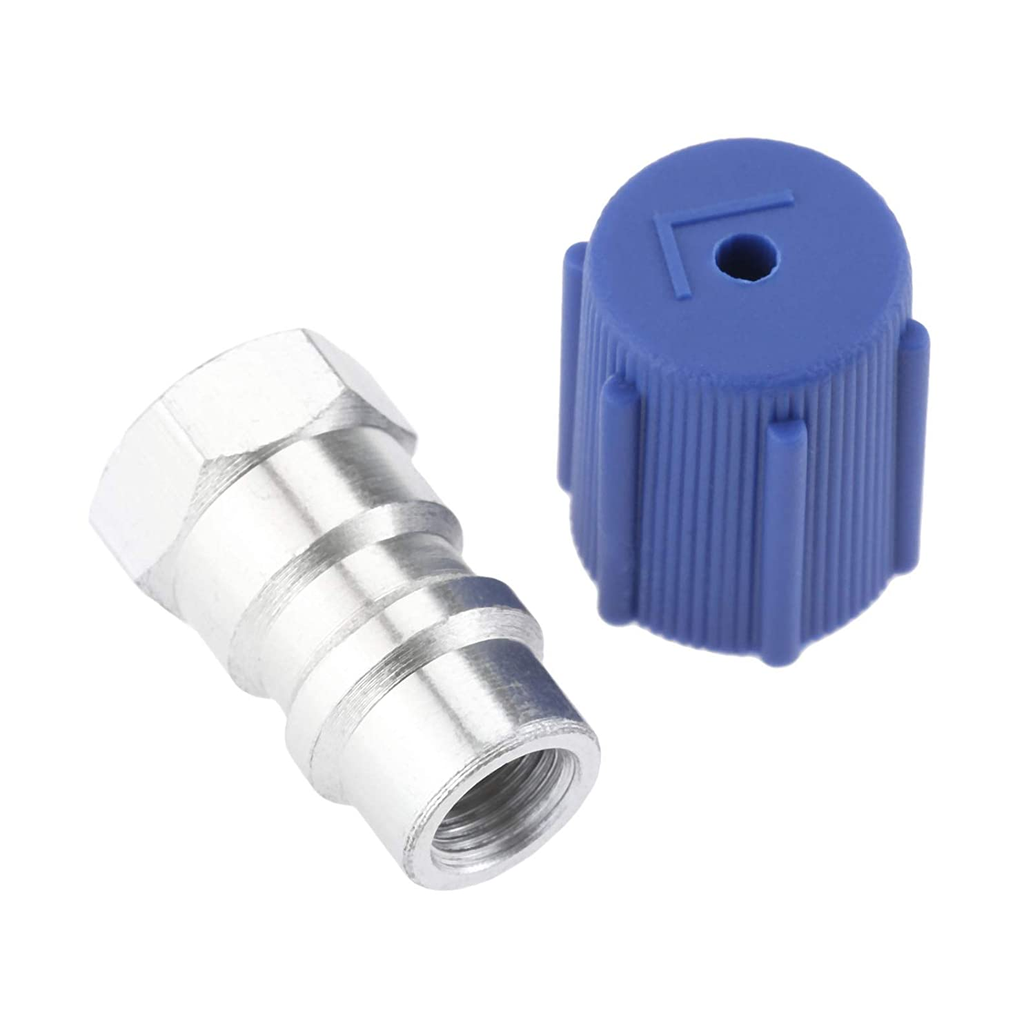 R12//R22 to R-134a Retrofit Valve 7//16/'/' Low Side Port Adapter Aluminum Alloy Air Conditioning Systems AC Cap Universal
