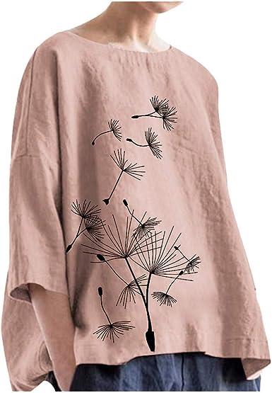 Ropa Lino Mujer Camisa de Mangas 3/4 Cuello Redondo Impresión ...