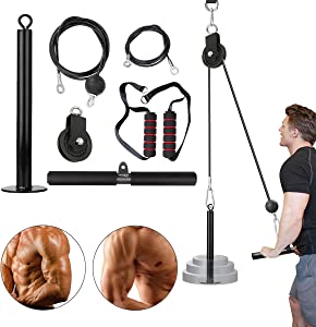 ABORON Forearm Wrist Roller Trainer Arm Strength Training Exerciser with Heavy Duty Pulley System for LAT Pulldowns Bicep Curls Triceps Extensions Fitness Equipment Cable