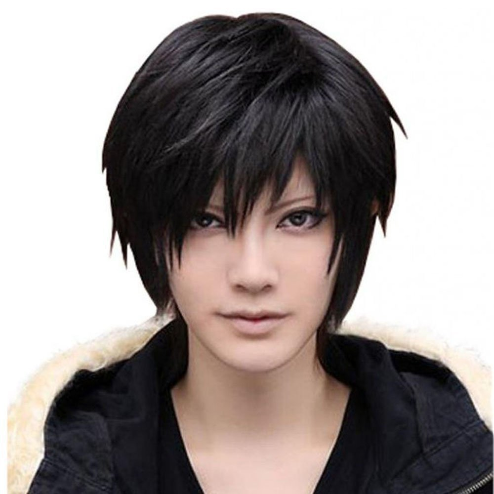 Amybria Men's Beautiful Male Black Short Straight Hair Wig