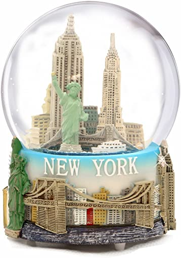 Musical New York City Snow Globe with Statue of Liberty, Empire State Building, Landmarks, 100mm New York City Snow Globes, 6 Inches Tall, Plays New York, New York