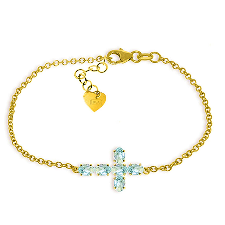 Galaxy Gold 1.7 Carat 14K Solid Gold Cross Bracelet Natural Aquamarine