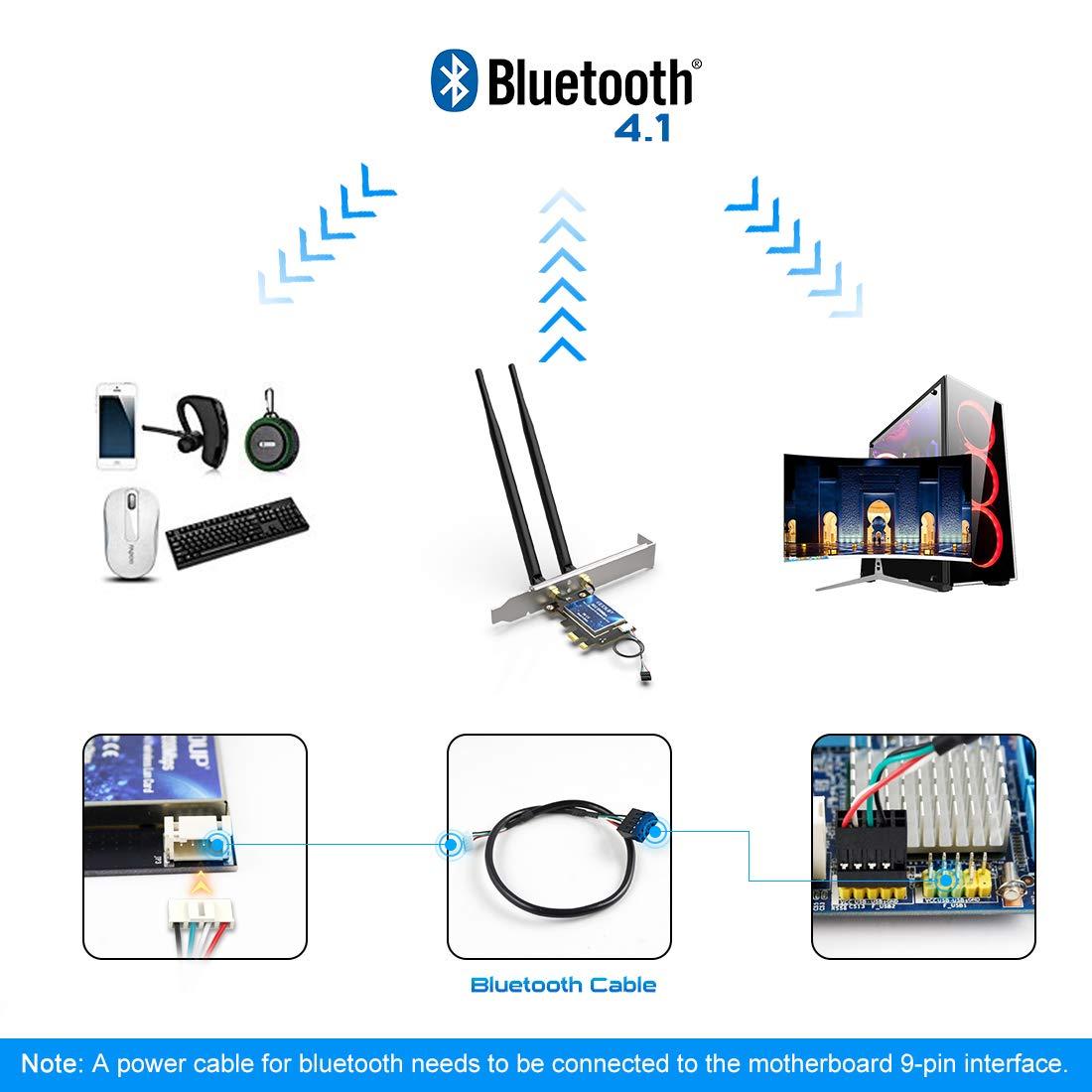 EDUP WiFi Card, PCIe Wireless Card AC1200,Bluetooth 4.1 Dual Band Wireless Network Card, PCI-E Wireless WiFi Network Adapter for Desktop PC, Suppots Windows 7/8.1/10