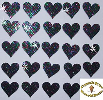 2 Packs = 48 Fabric Sequin 20mm Hearts Iron-On Fabric Transfer