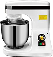 KITMA 7QT Commercial Adjustable Food Mixer - 270W Multiple Speed Countertop Tilt-Head Electric Stand Mixer with Stainless Ste