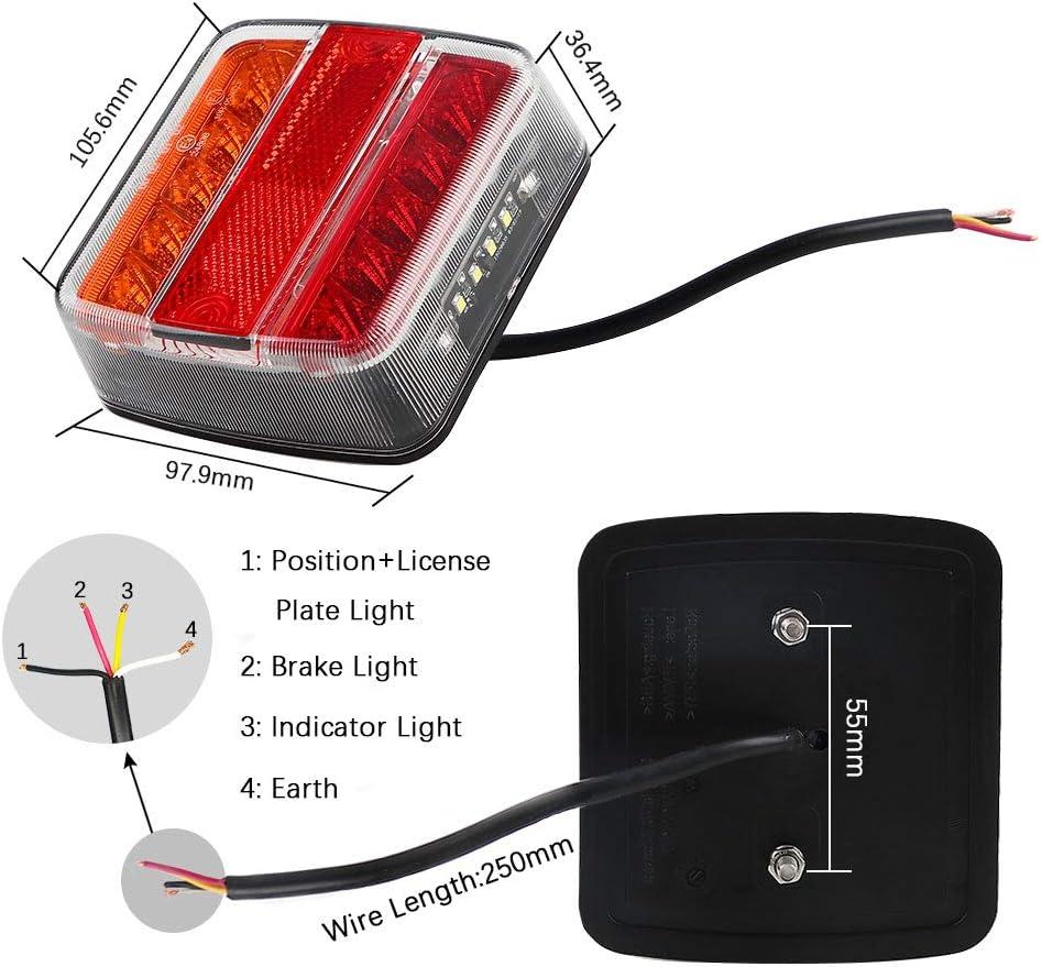 Hawkeye 2 Pcs Luz trasera del remolque 4 funciones L/ámpara de LED impermeable para camioneta Transparente /& Rojo, Cuadrado