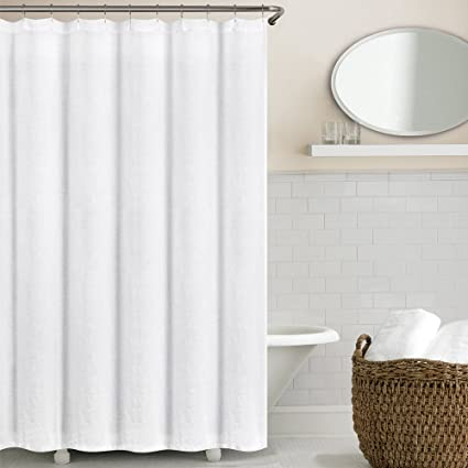 Echelon Home Washed Belgian Linen Shower Curtain Eggshell White
