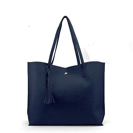 52b511b0850 Navy Blue Women Leather Handbag Shoulder Ladies Purse Messenger Satchel  Crossbody Tote Bag