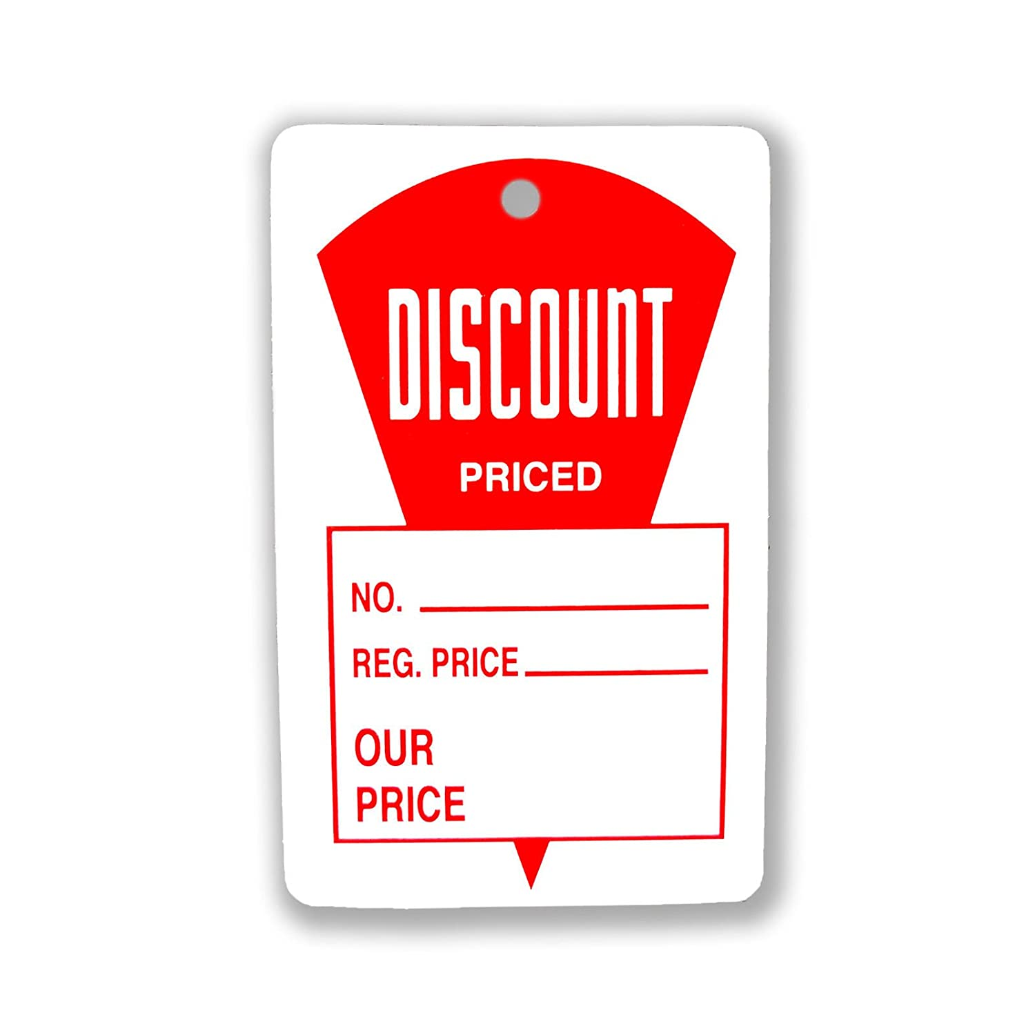 Regular Price & Our Price Tags, 1.8' W x 2.9' H Red & White Discount Priced Labels - 1000 Pack 1.8 W x 2.9 H Red & White Discount Priced Labels - 1000 Pack Store Fixtures Direct