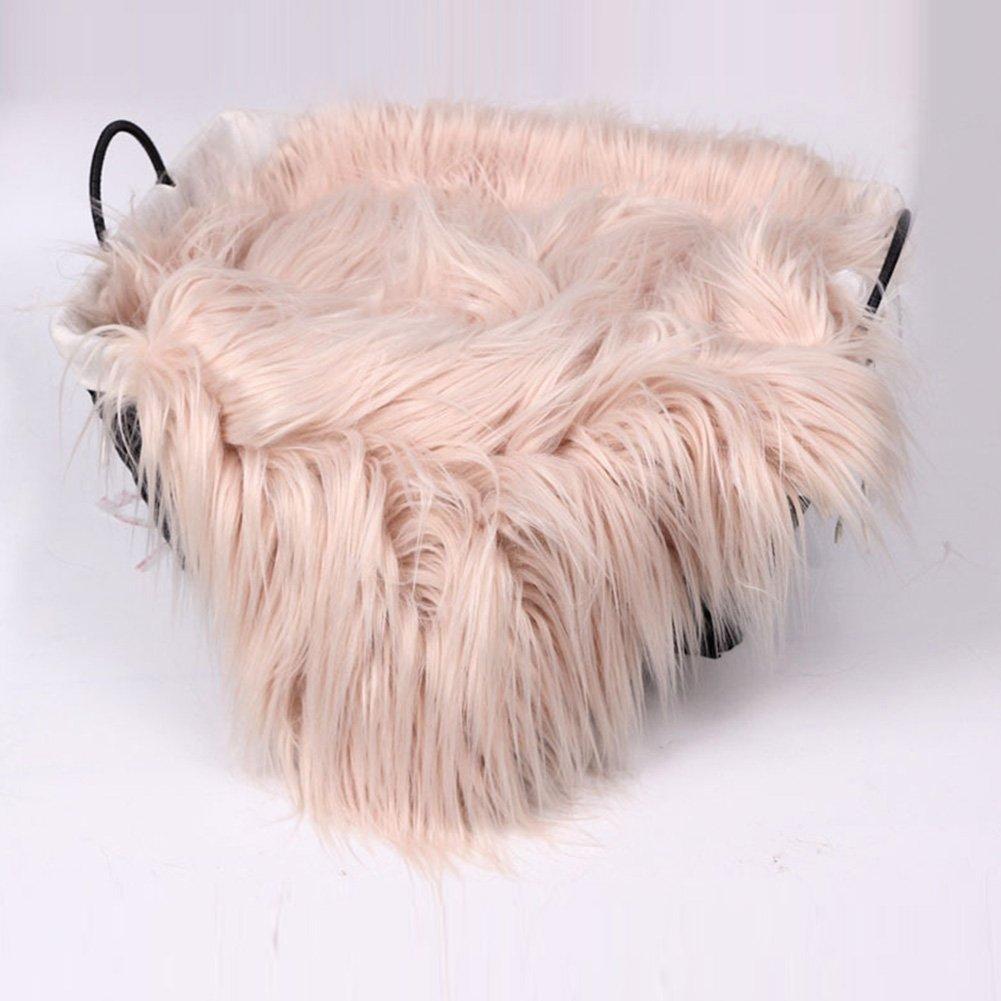 Caqui 2# 60 cm FADDR Baby Photo Blanket Long Hair,Photography Wrap Shaggy Area Rug,Newborn Soft Faux Fur Mat,Basket Stuffer Rug Background Backdrop 50 cm