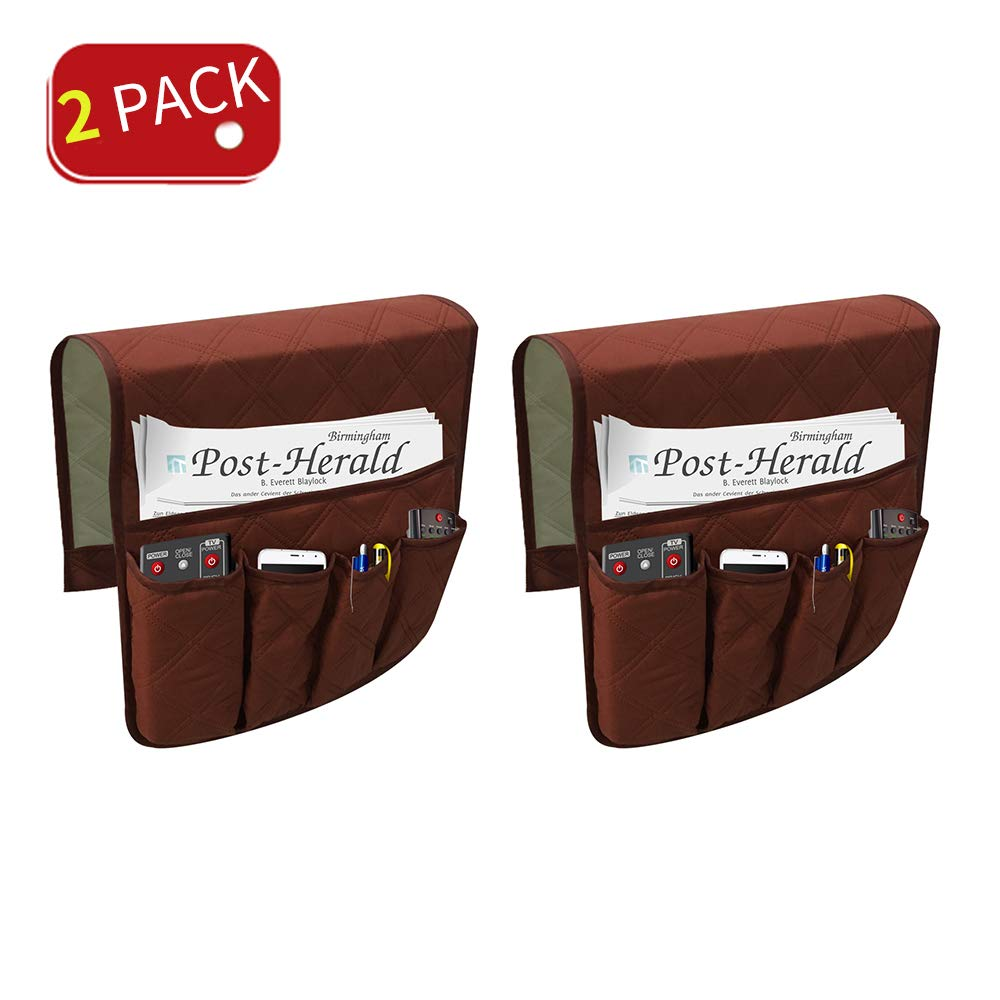 ENINFUT 2 Pack Non-Slip Couch Sofa Chair Armrest Organizer 5 Pockets Armchair Caddy Smart Phone, Book, Magazines, Ipad, TV Remote Control Holder (2 Pack-Coffee)