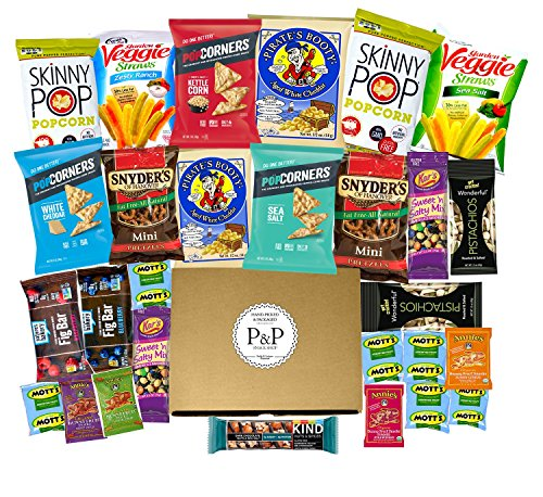 Healthy NON-GMO Snack Box (28 CT). Healthy Care Package: Chips, Cookies, Snack Bars, Fruit Snacks, Nuts, Popcorn Gift Box. Great for Offices, College Student (Dorm), Military, and Family Gift Basket. by P & P Snack Shop