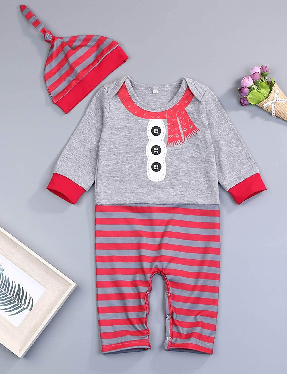 My 1st Christmas Newborn Baby Boy Girl Clothes Romper Merry Christmas Plaid Sleeve Jumpsuit Infant Outfit