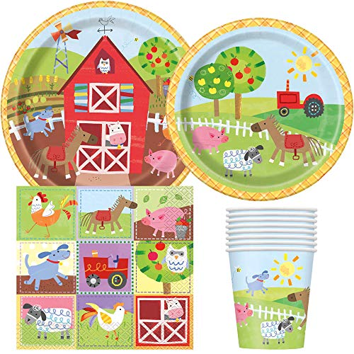 Unique Industries Barnyard Farm Party Birthday Supplies Pack for 8 Guests Including Lunch Plates, Dessert Plates, Lunch Napkins, Cups ()