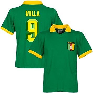 Camerún Home camiseta Retro + Milla 9, hombre, verde: Amazon.es: Deportes y aire libre