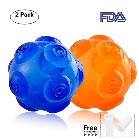 Juguetes para masticar perros y mascotas, pelota de goma suave resistente a los ácaros,