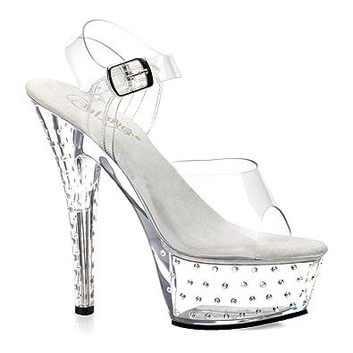 77f3779d4cd Summitfashions Womens Clear Sandals 6 Inch Heels Rhinestone Stud Platform  Heel Clar Straps Size  6