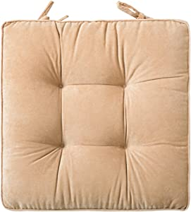 ZXCC Chair Seat Cushion Thicken Square, Office Seat Pads Winter Patio Floor Cushions Solid Color Pillow Dining Mats for Outdoor Car Kids Indoor-Beige 42x42cm(17x17inch)