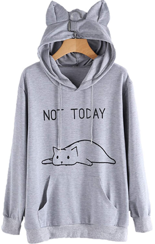 TUSFTAY Women NOT Today Hoodie Cute Cat Ear Hooed Sweatshirt