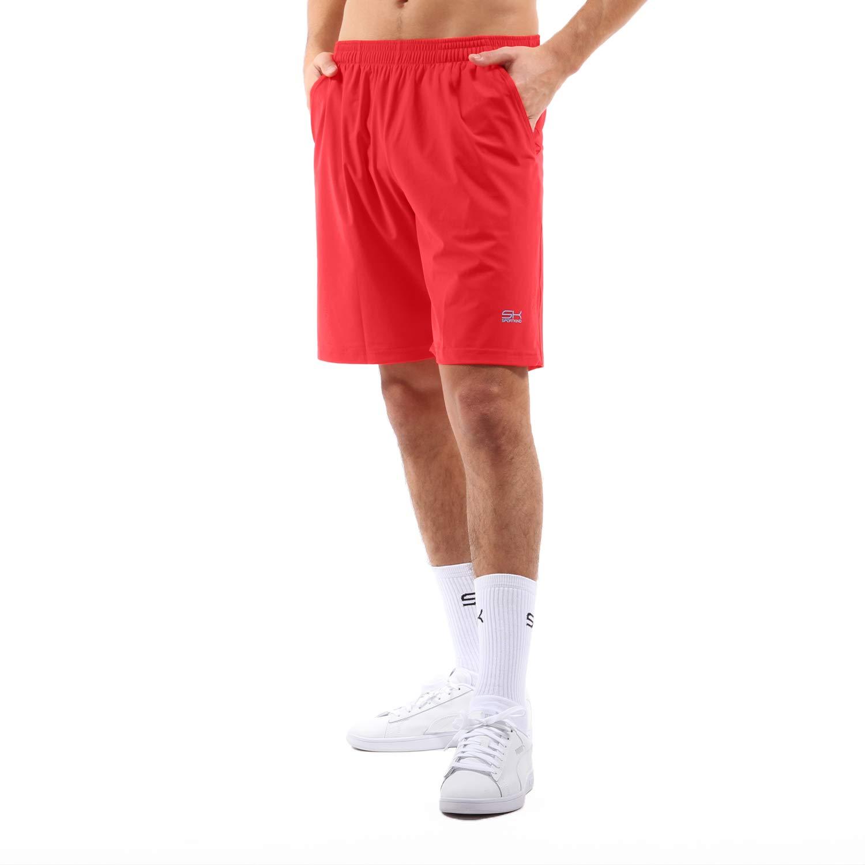 Sportkind Jungen & Herren Tennis/Training/Sport Shorts lang mit Innenhose, rot, Gr. XL