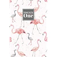 2021: Diary A5 Week to View on 2 Pages WO2P Planner | Horizontal Weekly Journal | Grey & Pink Watercolour Flamingo…