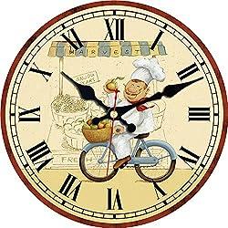 MEISTAR Modern Home Decor Quiet Sweep Movement Various Fruit Round Wall Clock Frameless Kitchen Decor Gift (6 inches)