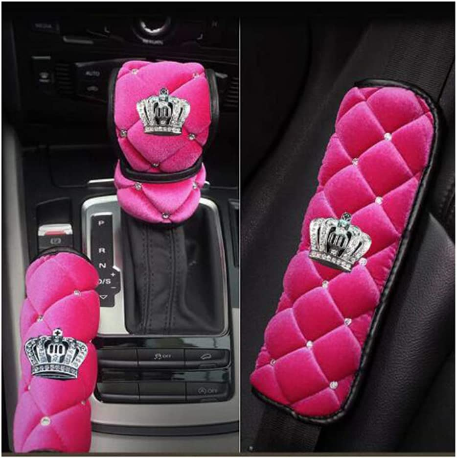 MTGOCHA Car HandBrake Protective Handle Cover Crystal Rhinestone Car Interior Decor Accessories for Women Girls Handbrake Cover Bling Auto Handbrake Cover Cushion