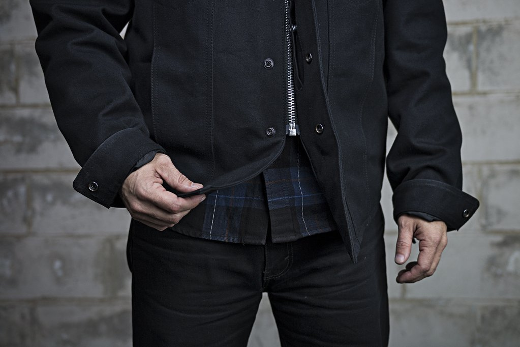 First Mfg Co Mens Mercer Canvas Motorcycle Shirt Black, Large