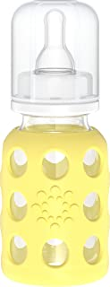 product image for Glass Baby Bottle with Silicone Sleeve Banana Lifefactory 4 oz Bottle